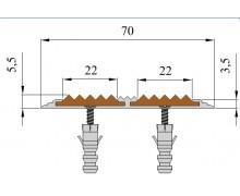Алюминиевая полоса с двумя резиновыми  вставками 70 мм/5,5 мм