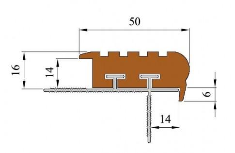 УШ-50 Уверенный шаг Закладной алюминиевый профиль