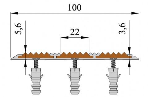 Алюминиевый Полоса с 3-мя противоскользящими вставками (100мм*5,6мм).