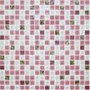 Мозаика стекло № 1027 микс розовый-платина 300х300/15/6