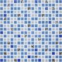 Мозаика стекло № 1029 микс синий - платина 300х300/15/6
