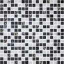 Мозаика стекло № 1028 микс черный - платина  300х300/15/6
