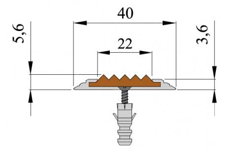 Анодированная алюминиевая полоса Стандарт 40мм*5.6мм.2.7м