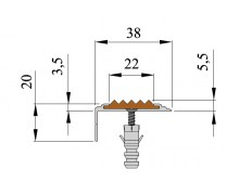 Анодированный Анодированный алюминиевый угол-порог Стандарт 38мм*5.5мм*20мм.2.7м