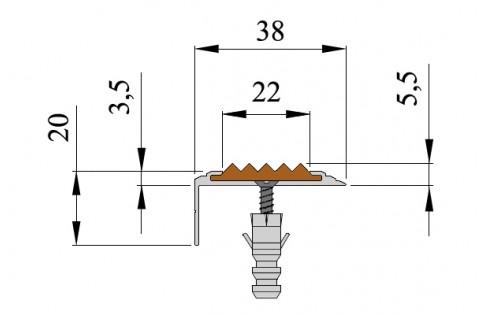 Анодированный алюминиевый угол-порог Стандарт 38мм*5.5мм*20мм.2.7м