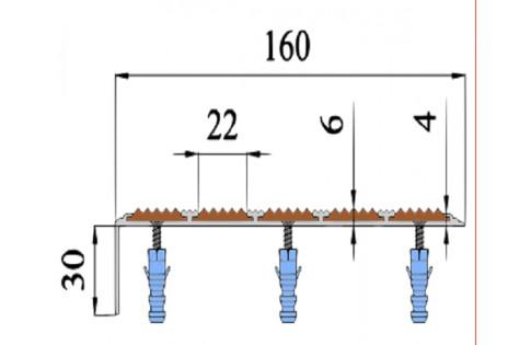 Алюминиевый Угол с 5-ю противоскол. вставками (160мм*34мм*6мм).
