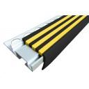 """Алюминиевый Угол под Кафель """"ALPB"""" со съёмной  вставкой и одним закладным элементом (32 мм/20 мм).черно-желтый 2.40м"""