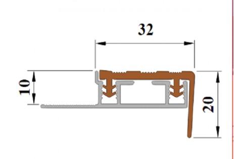 """Алюминиевый Угол под Кафель """"ALPB"""" со съёмной  вставкой и одним закладным элементом (32 мм/20 мм)."""