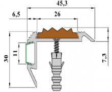 Накладной алюминиевый профиль с экраном и противоскользящей вставкой. GlowStep45.
